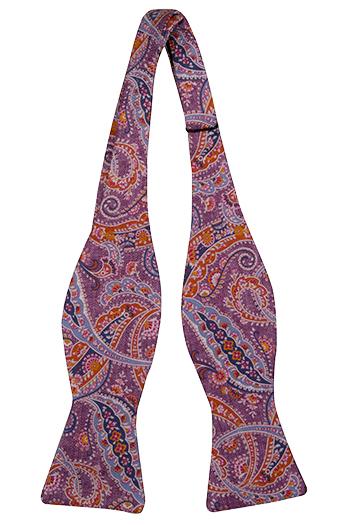 Oknuten Fluga i Siden - Lila, orange, blå & skär paisley - Notch MEANDRO Purple