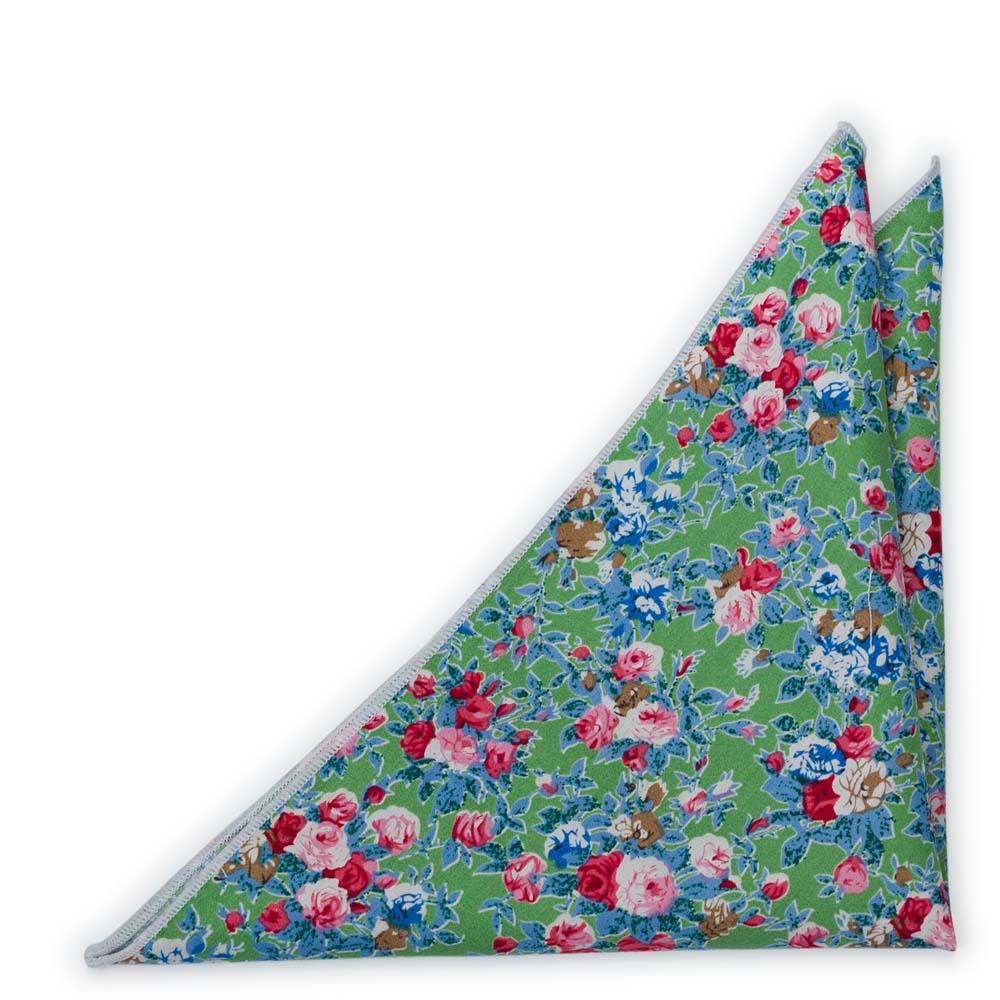Bröstnäsduk i Bomull - Cerise, blå och vita blommor på äppelgrönt