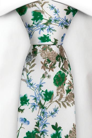 Slips i Siden - Gröna, blå och beigea blommor på vitt - Notch MEZZOPIANO Green