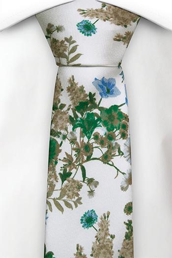 Smal Slips i Siden - Gröna, blå och beigea blommor på vitt