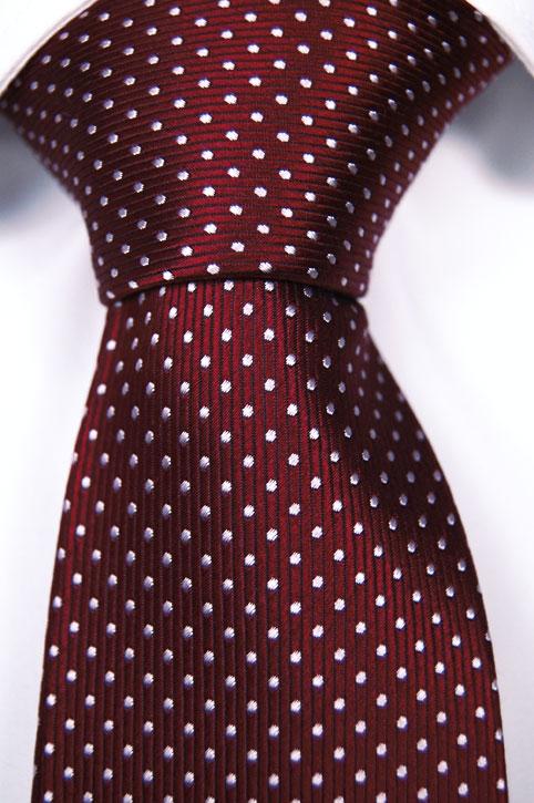 Slips i Siden - Vinröd botten och små vita prickar - Notch NAPOLEON