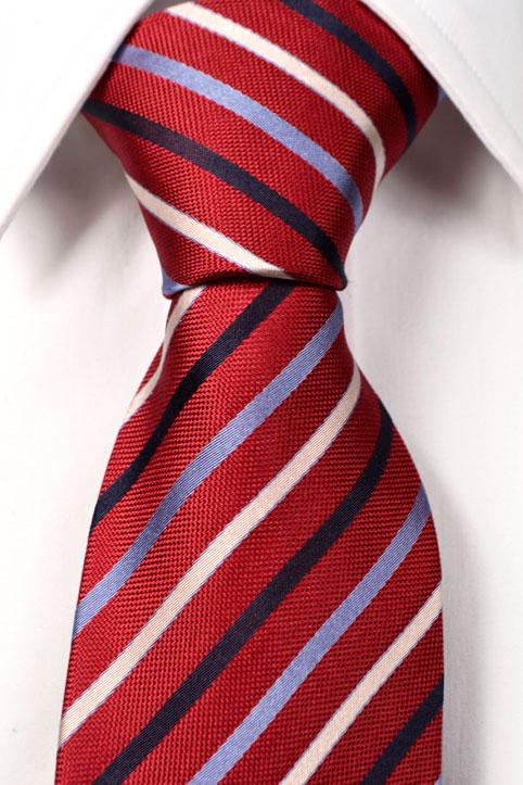 Slips i Siden - Röd botten med ränder i blått och vitt - Notch NEIL