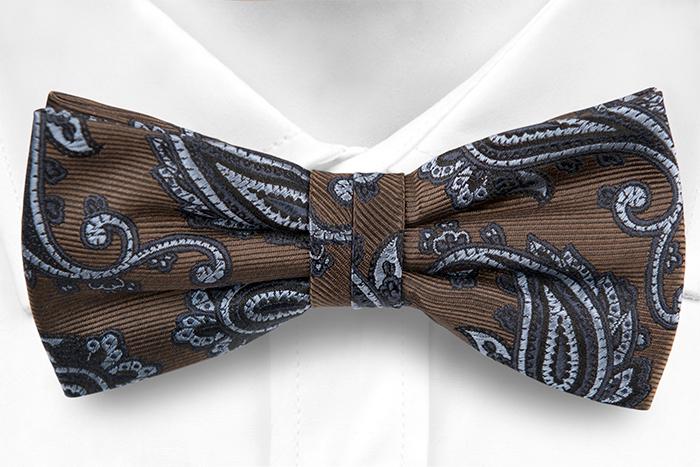 Knuten Fluga i Siden - Brun twill, paisley i svart och två blå toner