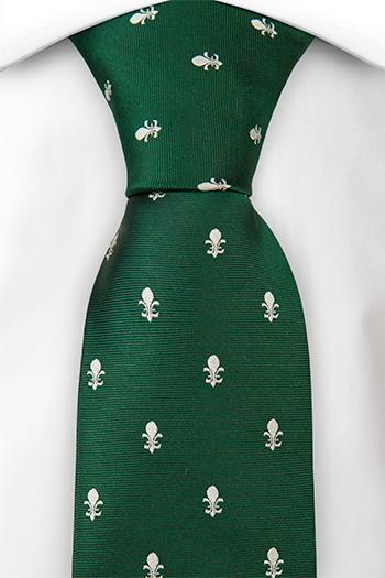 Slips i Siden - Grön twill, vita franska liljor, fleur-de-lis - Notch ONUR