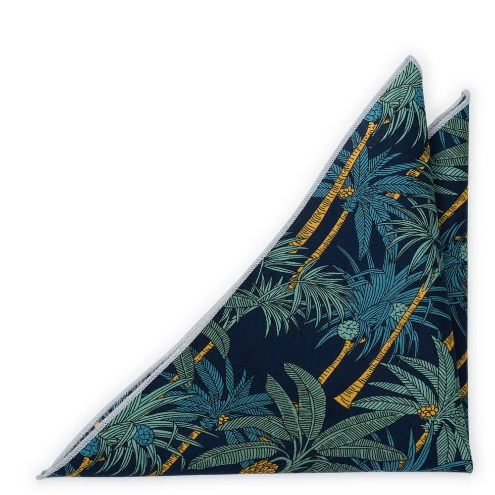 Bröstnäsduk i Bomull - Palmmönster på mörkt marinblått