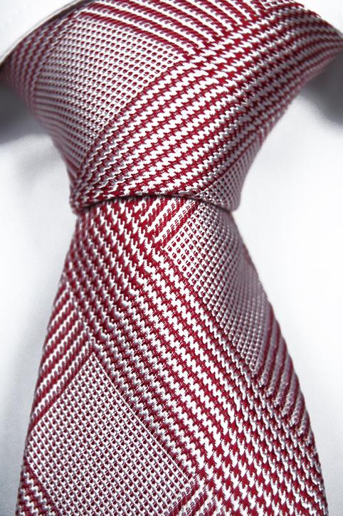 Slips i Siden - Glencheck-mönster i rött och vit - Notch PAUL