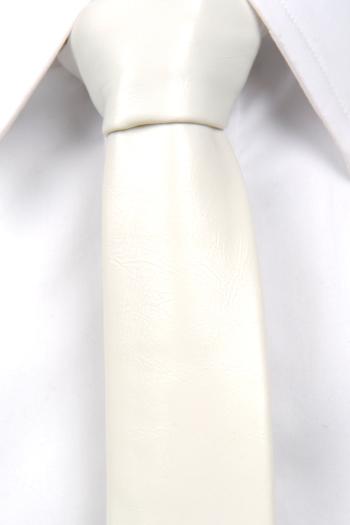 Smal Slips i Läder - Matt vit, ådrig struktur. - Notch PAXTON