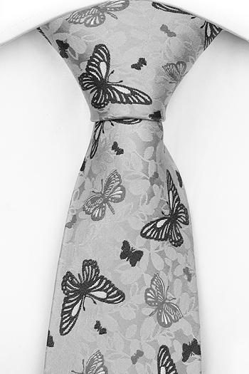 Slips i Siden - Ljusgrå botten, fjärilar i mörkare grå toner - Notch PEPE