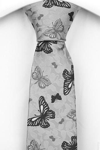Smal Slips i Siden - Ljusgrå botten, fjärilar i mörkare grå toner - Notch PEPE