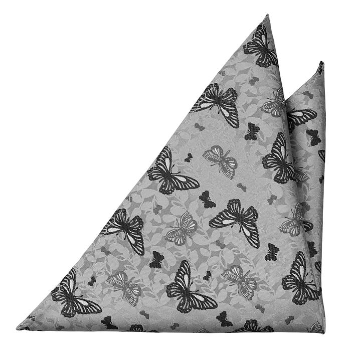 Bröstnäsduk i Siden - Ljusgrå botten, fjärilar i mörkare grå toner - Notch PEPE