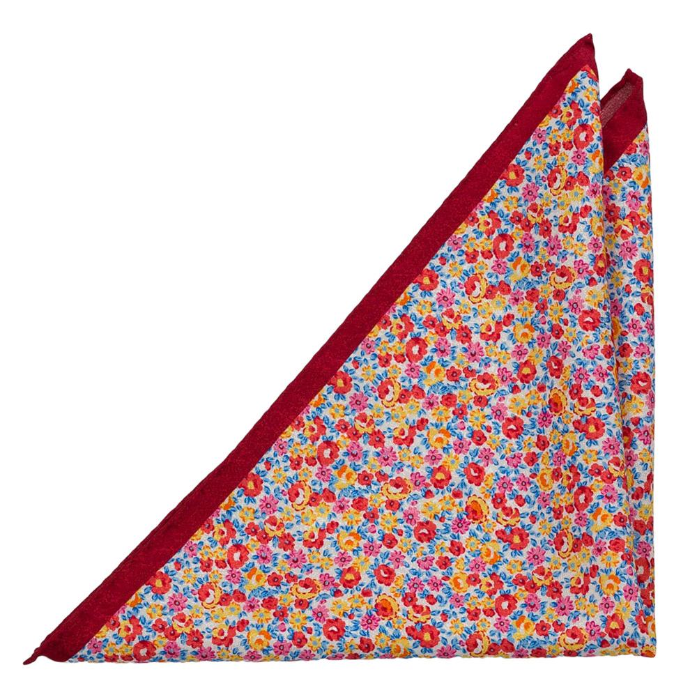 Bröstnäsduk i Siden - Ljusröda, rosa, gula & blå miniblommor på vitt