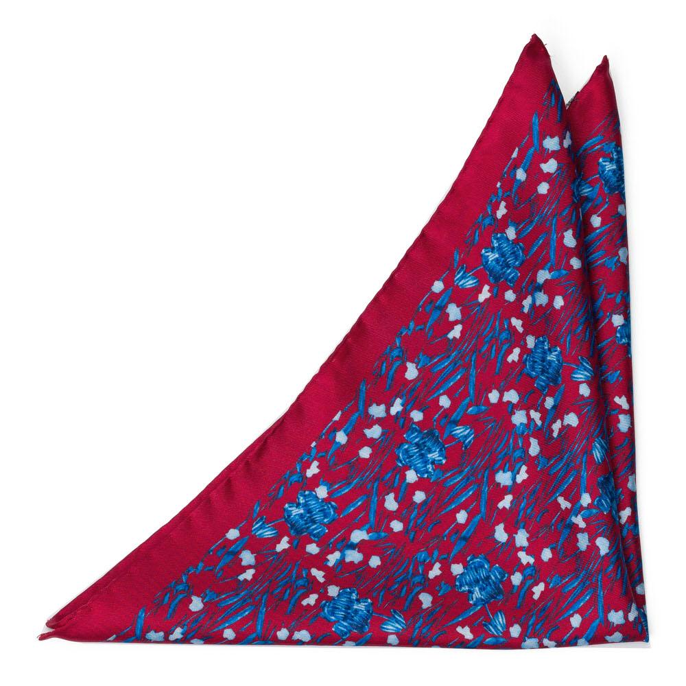Bröstnäsduk i Siden - Intensivblått blommotiv på scharlakansrött