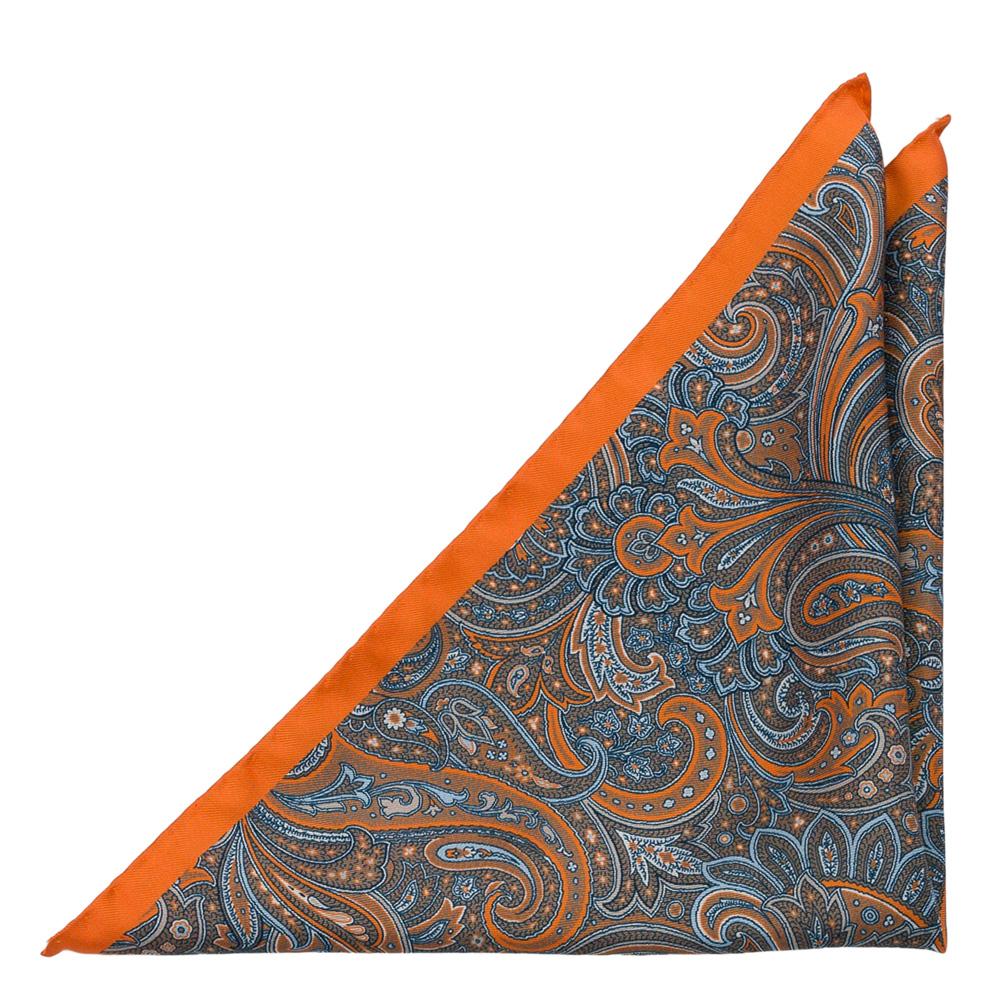Bröstnäsduk i Siden - Paisleydesign i orange, blått & brunbeige