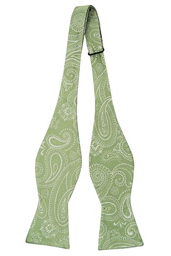Oknuten Fluga i Siden - Silvervit paisley på ljust gulgrön bas