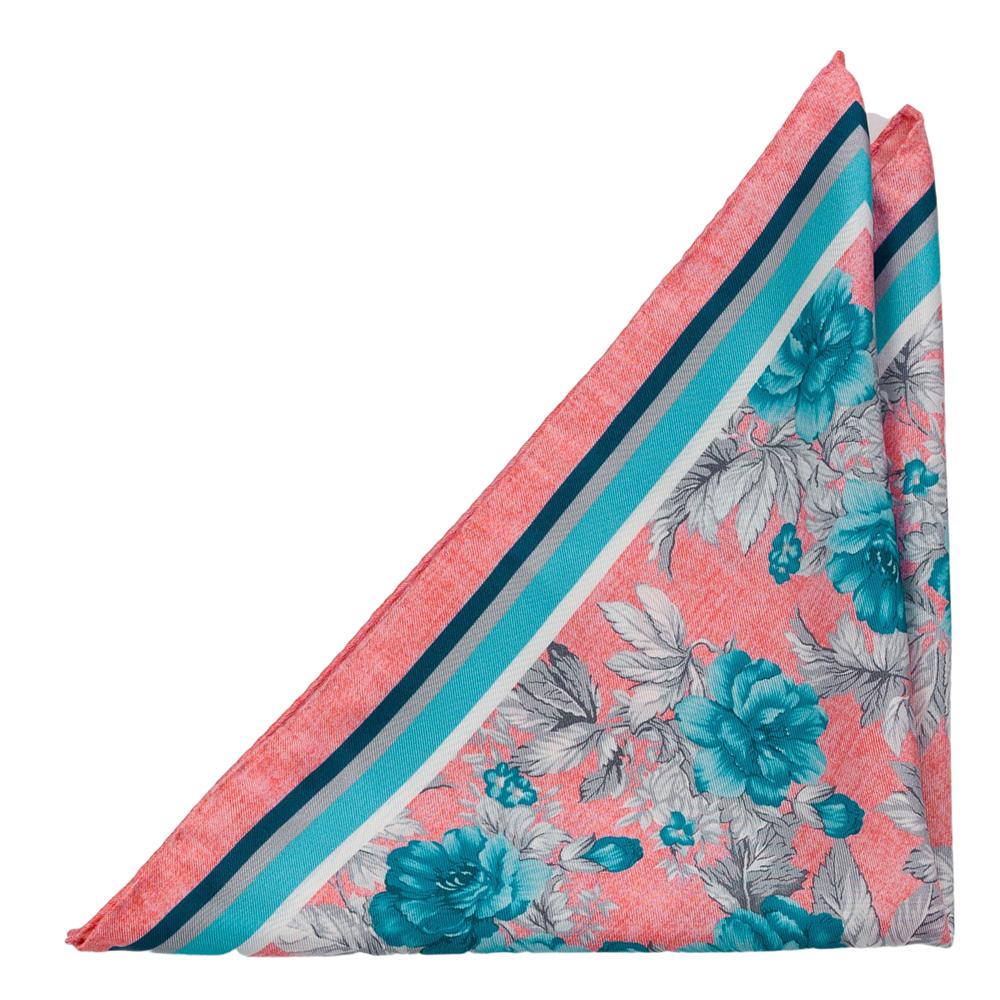 Bröstnäsduk i Siden - Stora, turkosa blommor och grå blad på rosa bas