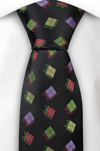 Slips i Siden - Svart bas, röda, gröna & ljuslila julklappar - Notch RUDOLPH
