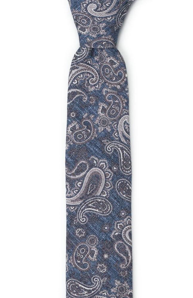 Smal Slips i Linne - Grå paisley på jeansliknande blå - Notch RUVIDO Denim blue