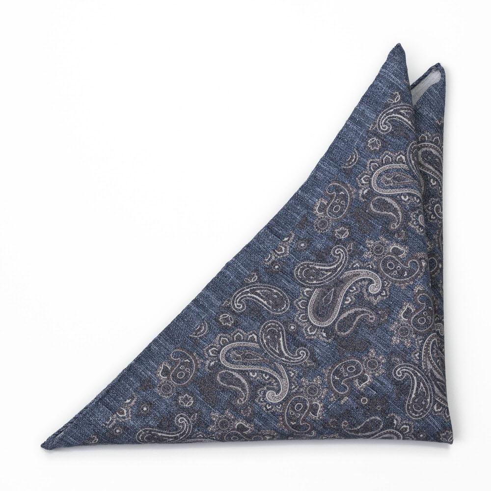 Bröstnäsduk i Linne - Grå paisley på jeansliknande blå - Notch RUVIDO Denim blue