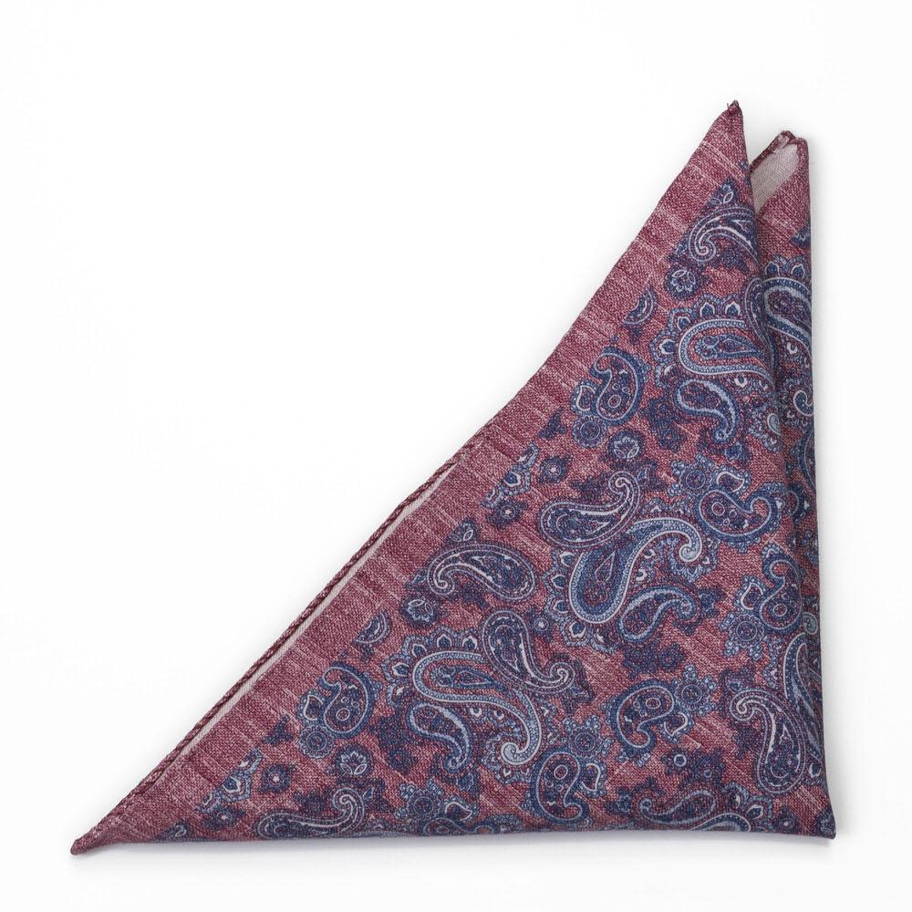 Bröstnäsduk i Linne - Blå paisley på jeansaktigt roströd - Notch RUVIDO Red