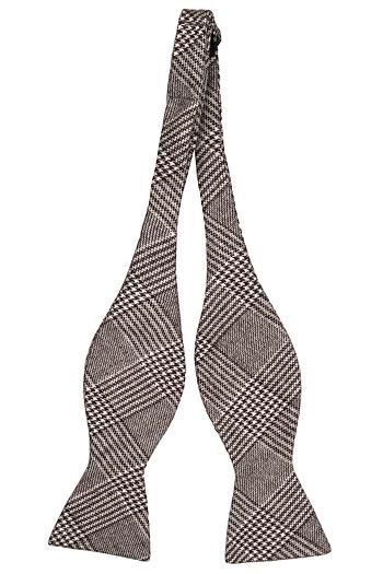Oknuten Fluga i Ull - Glencheck-mönster i mörkbrunt och beige - Notch SANDER