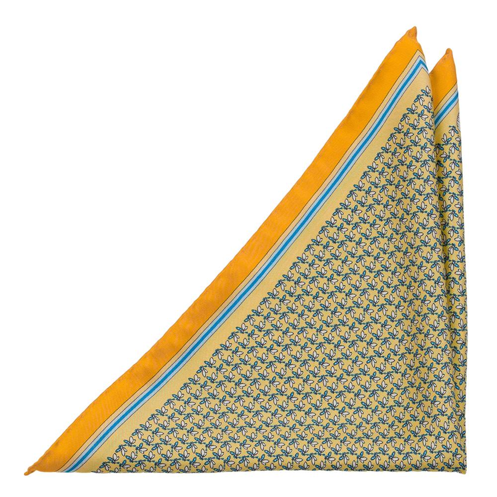 Bröstnäsduk i Siden - Bi- och kupa-motiv på blekgulbas med illgul kant