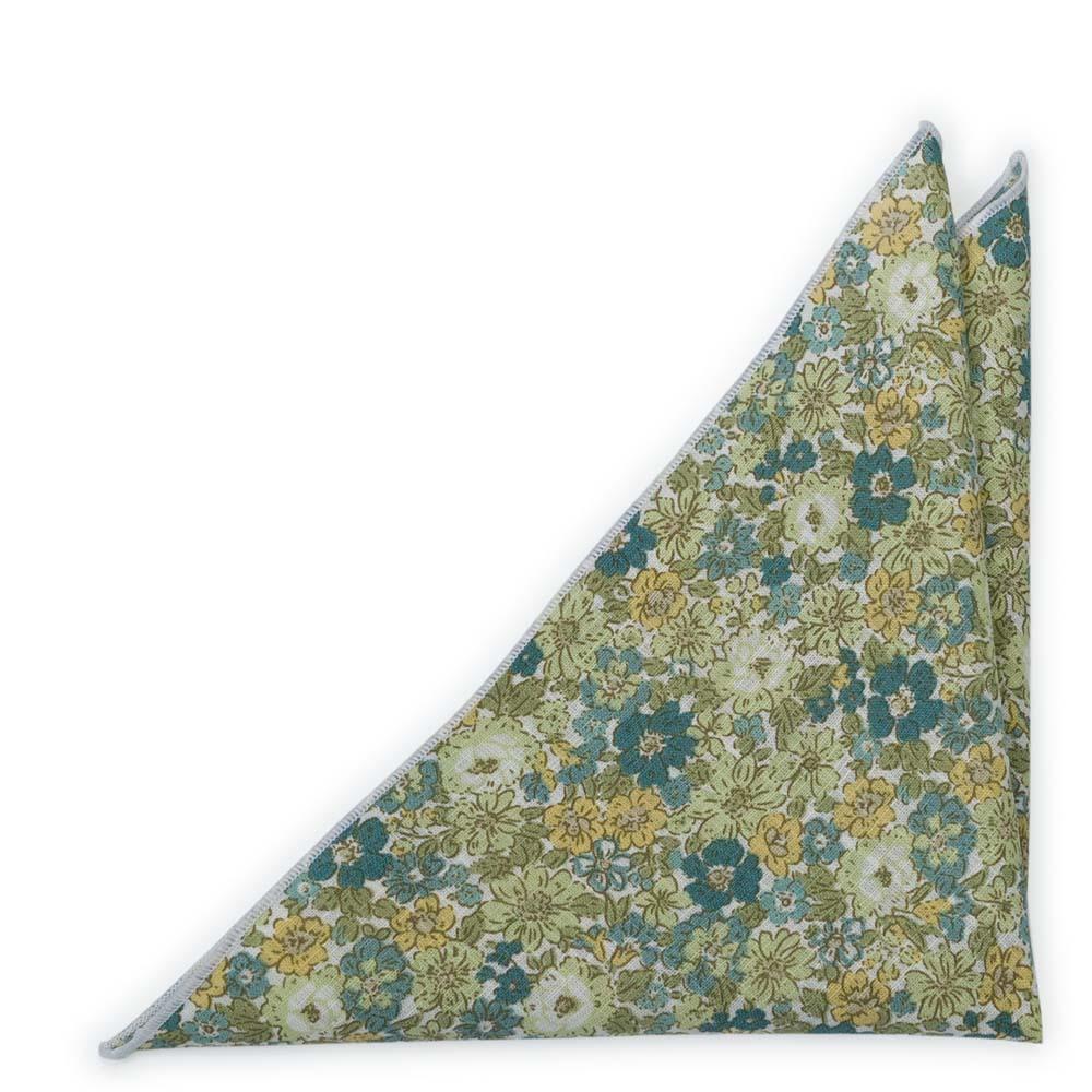 Bröstnäsduk i Bomull - Blommönster i olika gröna toner, senap & off-white