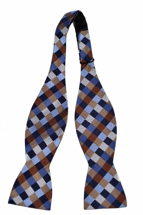 Oknuten Fluga i Siden - Rutor i blått, brunt, beige och vitt - Notch SIVERT