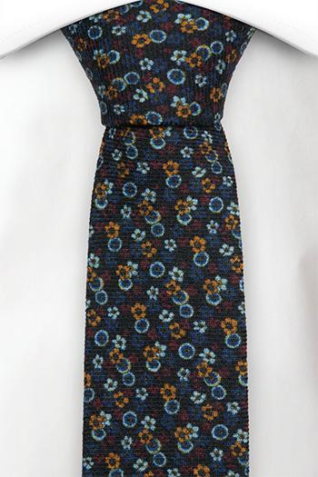 Smal Slips i Ull - Pyttesmå blå, gula och röda blommor - Notch SONATA Navy