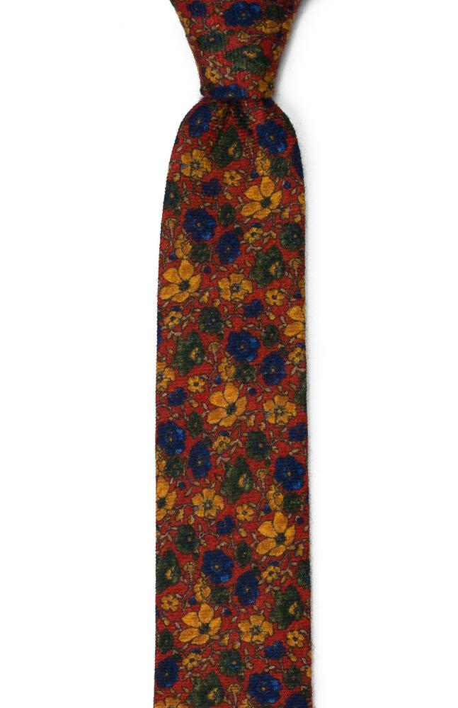 Smal Slips i Ull - Höstligt blommotiv på mörkt rostorange