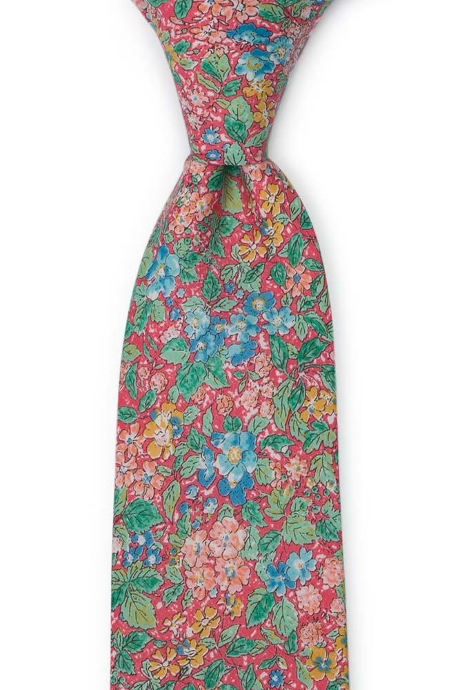 Slips i Bomull - Varm rosa med blommor i grönt, rosa & honungsgult