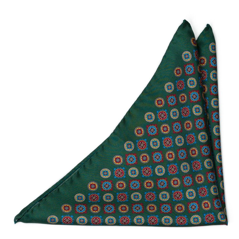 Bröstnäsduk i Siden - Flerfärgade blommedaljonger på mörkgrönt