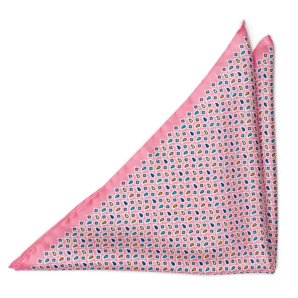 Bröstnäsduk i Siden - Retromönster på ljust rosa - Notch TETRISOLO Pink