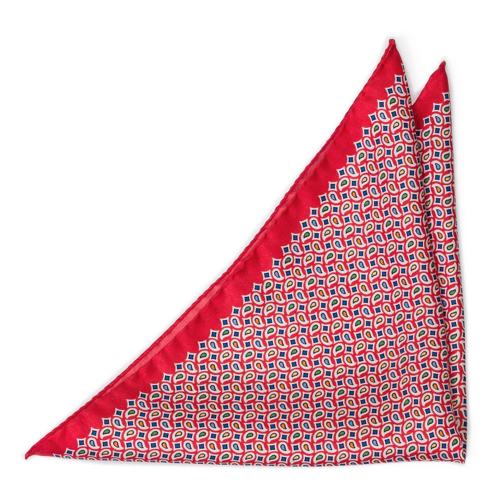Bröstnäsduk i Siden - Retromönster på klarrött - Notch TETRISOLO Red