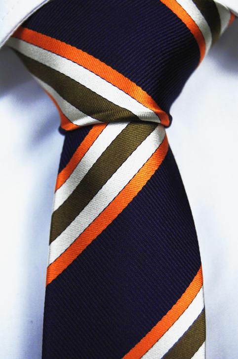 Smal Slips i Siden - Marinblå bas och ränder i grönt, vitt och orange