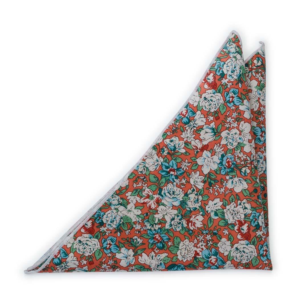 Bröstnäsduk i Bomull - Blommor i turkos & vitt på rostorange