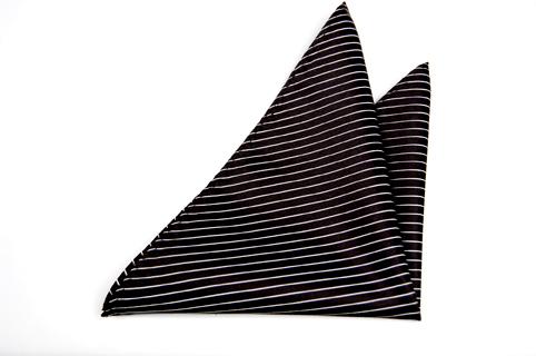 Bröstnäsduk i Siden - Svart botten och vertikala ränder i vitt - Notch TYRONE