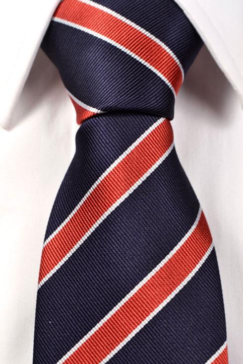 Slips i Siden - Blå bas med ränder i orange och vitt - Notch VALLE
