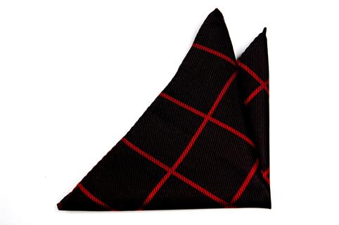 Bröstnäsduk i Siden - Enfärgad svart botten och ett rutmönster i rött