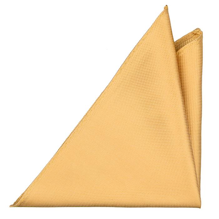 Bröstnäsduk i Siden - Guldfärgad med struktur av små fyrkanter - Notch VIKING