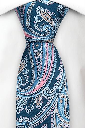 Slips i Siden - Stor, vacker paisley i blå, röd, rosa & vit - Notch VINCENZO