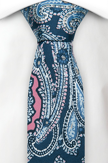 Smal Slips i Siden - Stor, vacker paisley i blå, röd, rosa & vit
