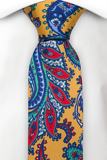 Smal Slips i Siden - Gul, blå, grön och röd paisley på tryckt siden