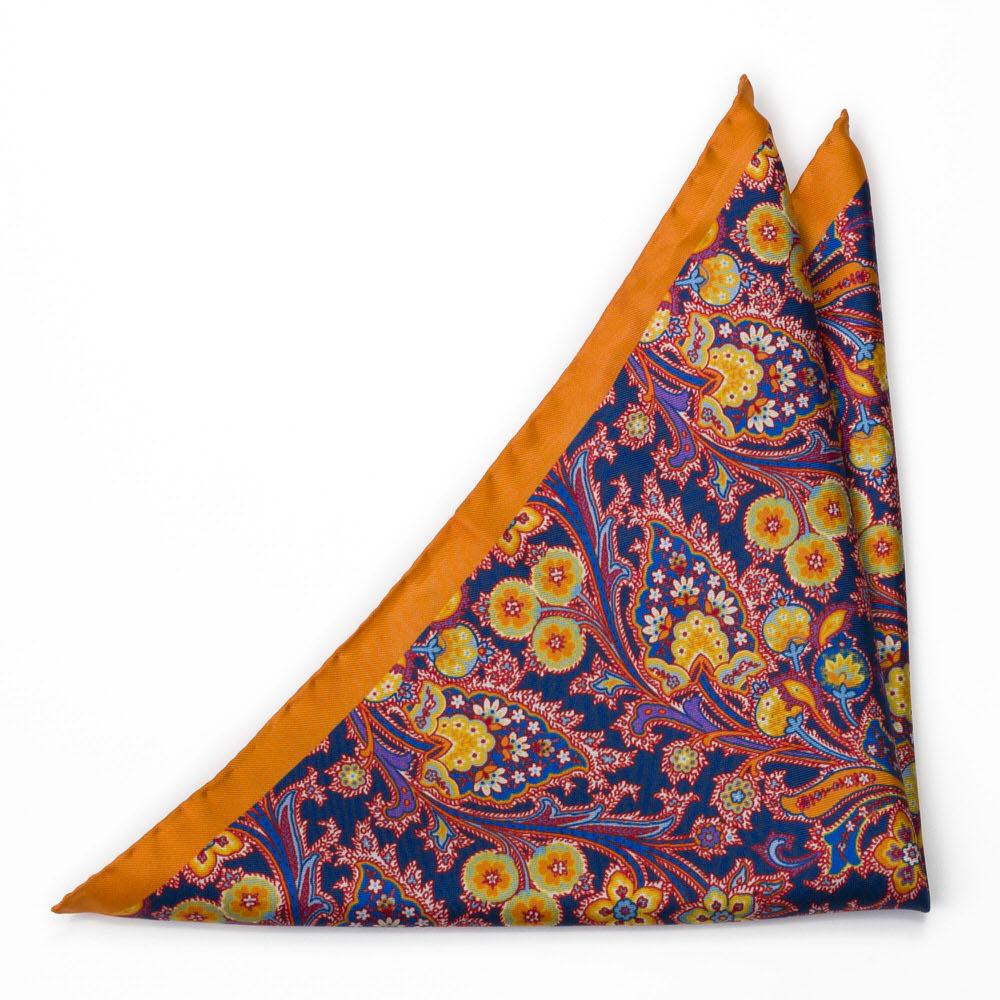Bröstnäsduk i Siden - Surrealistiska, flerfärgade blommor på orange