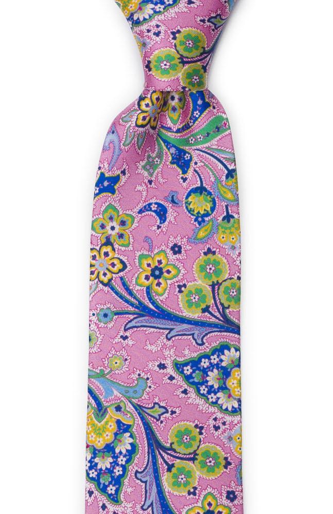 Slips i Siden - Flerfärgade blommor på rosa med grön kant - Notch VIVACE Pink