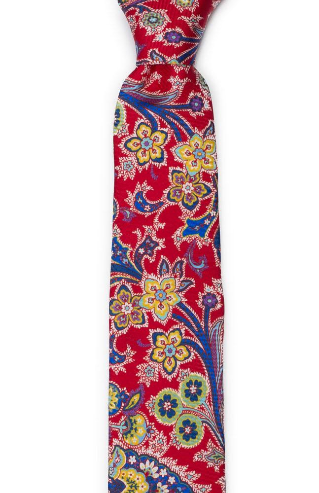 Smal Slips i Siden - Surrealistiska, flerfärgade blommor på klarrrött