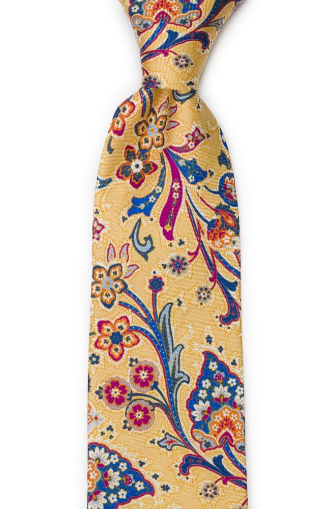 Slips i Siden - Surrealistiska, flerfärgade blommor på gult