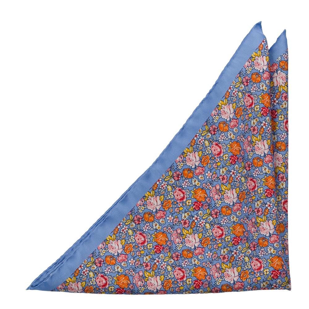 Bröstnäsduk i Siden - Orange, ljusrosa & röda blommor på ljusblått