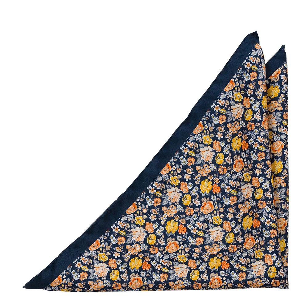 Bröstnäsduk i Siden - Gula, orange & vita blommor på mörkt marinblått