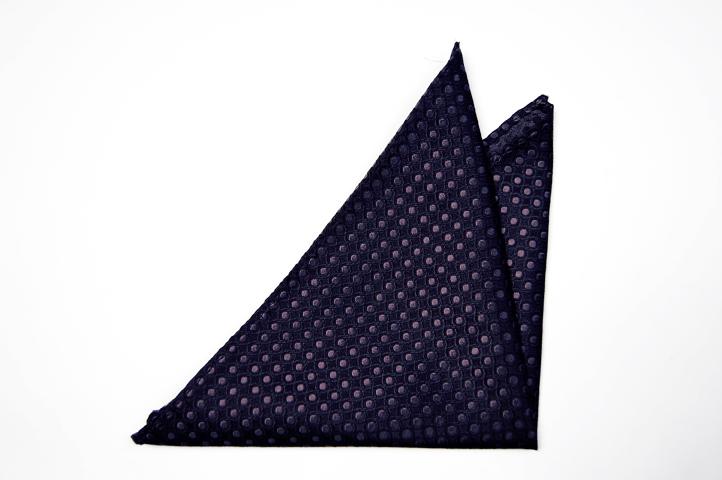 Svart Bröstnäsduk i Siden - Svart bas och ett prick-mönster i grått