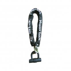 MASTER LOCK SILVER SOLD SECURE CHAIN LOCK W/INTEGRAL 14MM MINI D LOCK 10MM X 900MM HARDENED STEEL SQUARE LINKS:  900MM